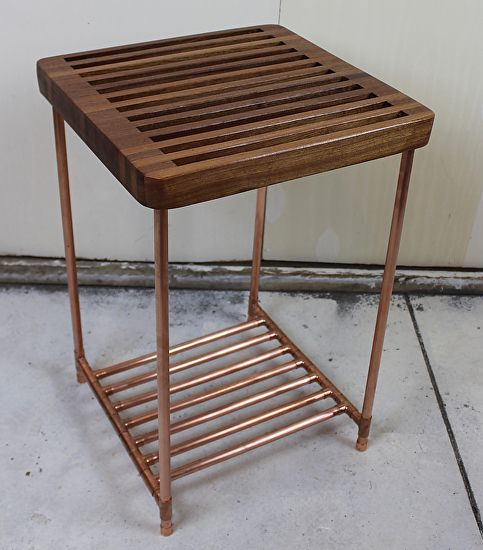 Sapele Slat and Copper Pipe Side Table by Paul Segedin & Urban Prairie  Design, Chicago