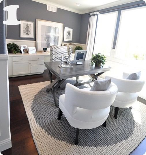 gray-white-home-office-centsationalgirl-I love the color scheme, pops of dark purple would make it perfect