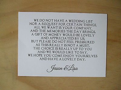 Wedding Money Request Cards Ebay