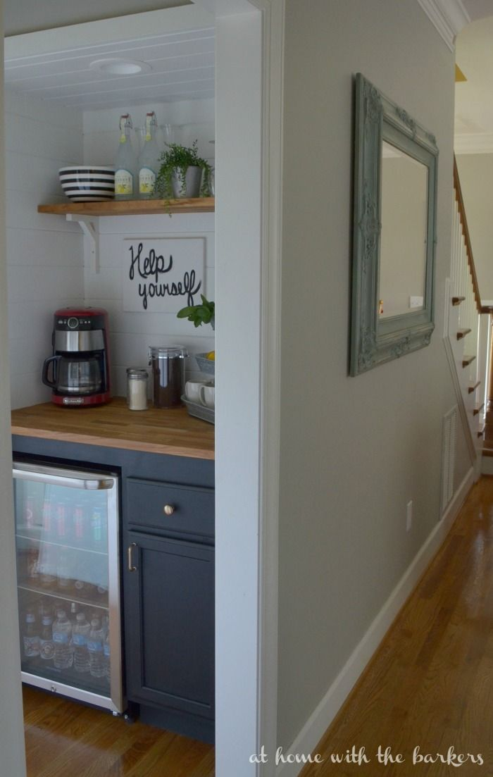 DIY Beverage Bar and Kitchen Makeover. Turn a small kitchen closet into a coffee bar.