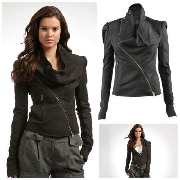 All Saints Dresden Black Leather Jacket All Saints Dresden jacket in buttery soft Black leather. Asymmetric zipper and draped cowl neckline with triple snap closure. Very good used condition. 3rd and 4th pics are of the actual jacket. UK size 8 fits US size 4. Would work best for size XS or small. No trades. All Saints Jackets & Coats
