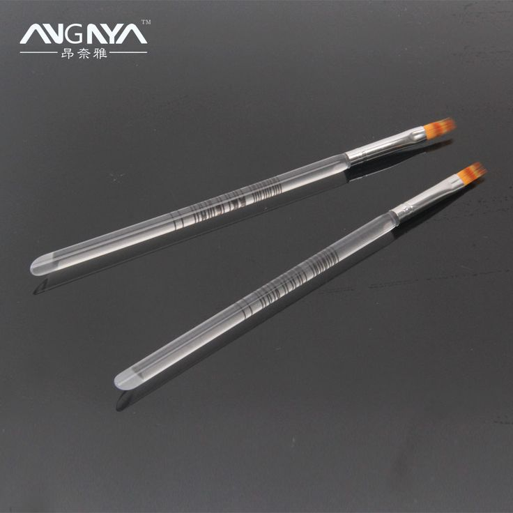 Retail 1PC ANGNYA Acrylic UV Gel Nail Art Ombre Brush Transparent Handle Flat Nylon Hair Brush Nail Art Tools Freeshipping