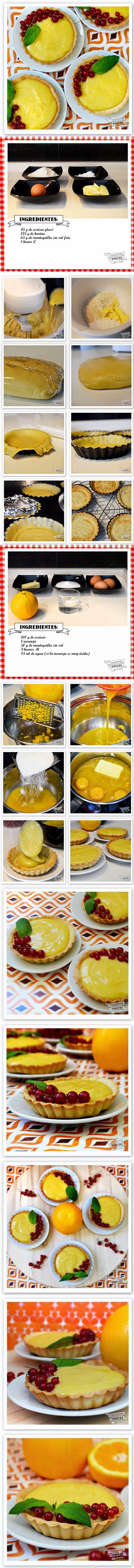 Tartaletas de naranja y grosellas - http://lacucharitadepostre.blogspot.com.es/