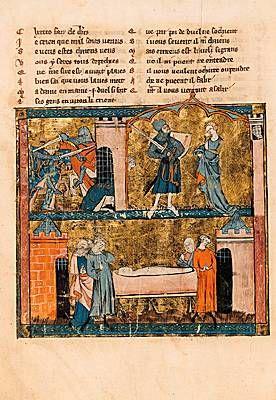 Enluminure (XIIIe siècle) d'un manuscrit du roman Yvain ou le Chevalier au lion (1177) de Chrétien de Troyes. (Bibliothèque nationale de France, Paris.)