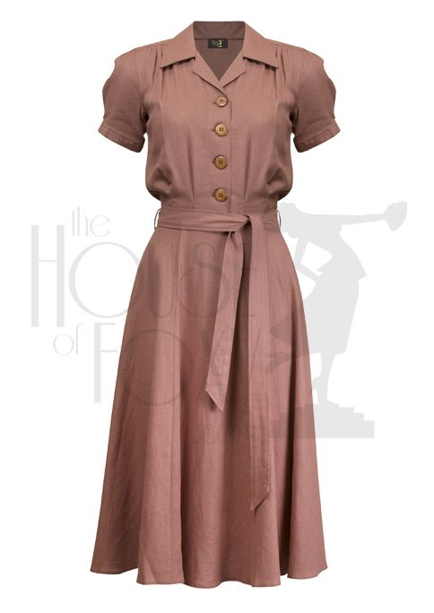 1940s Style Shirt Dress in dusty rose linen