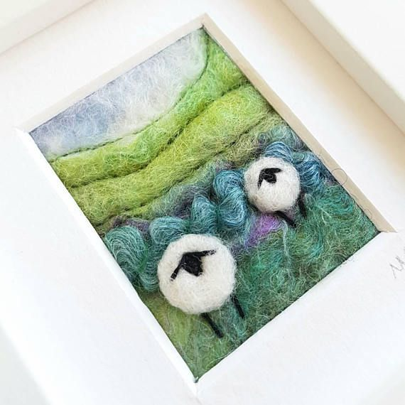 Sheep on Shropshire Hillside Miniature fiber art picture