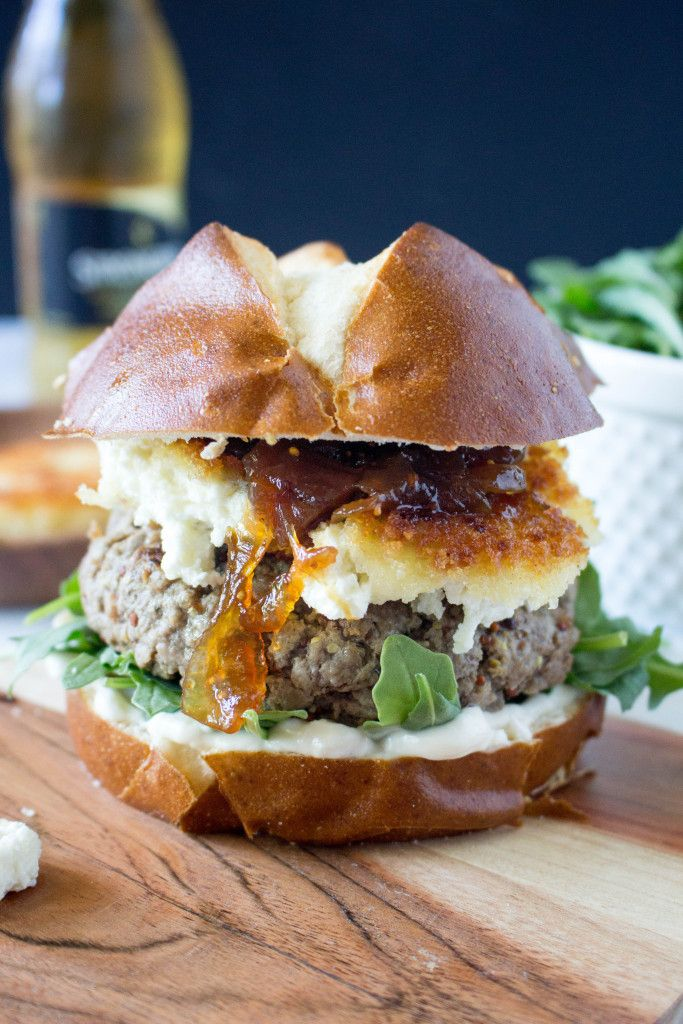 Mustard Burgers with Crispy Goat Cheese and Fig-Onion Compote for #nationalcheeseburgerday!