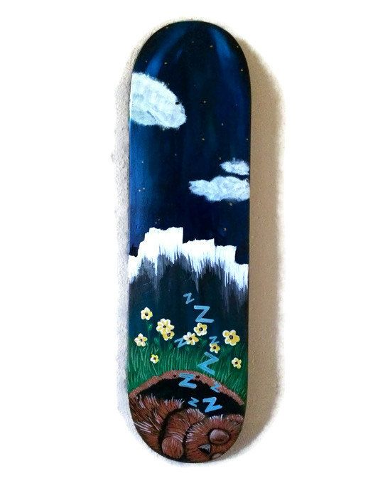 Up-cycled skate art, Sleepy Bear by HaleyWaddingtonArt on Etsy