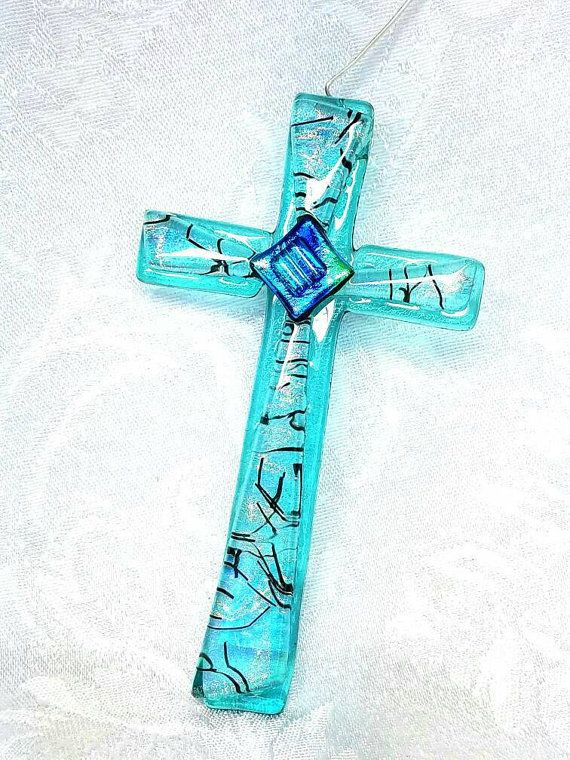 Aqua Dichroic Fused Glass Cross Ornament  Green by hbjewelrydesign
