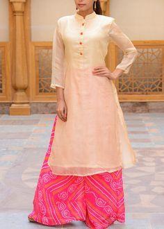 Cream-Kota-Silk-Tunic-VASS216 #Vasansi Jaipur www.vasansi.com