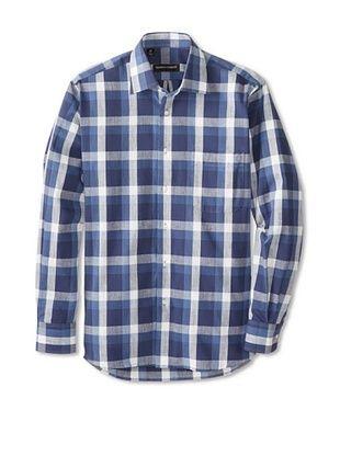 61% OFF Kenneth Gordon Men's Plaid Spread Collar Sportshirt (Navy)