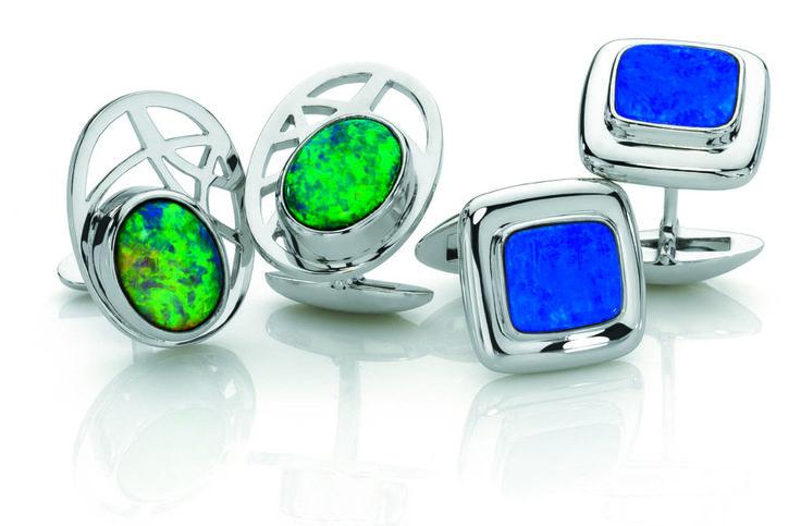 Cufflinks with Australian black opals and boulder opals