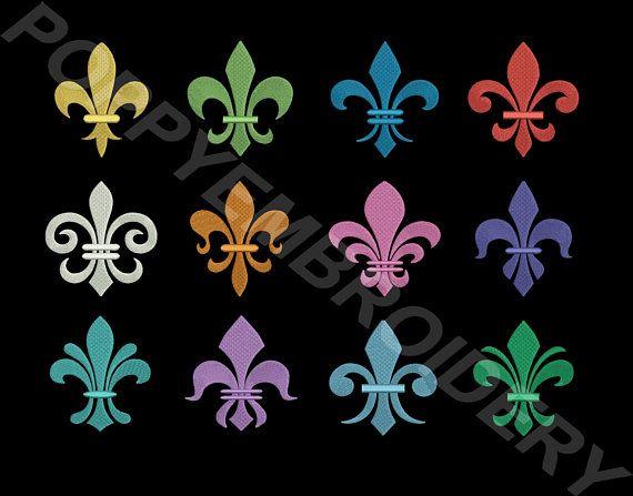 Lily Flower Design For Embroidery Machine Fleurs De Lys Motifs