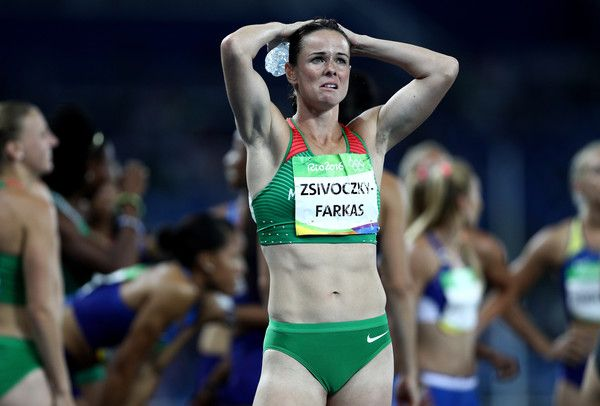 Gyorgyi Zsivoczky-Farkas of Hungary looks dejected after the Women's Heptathlon 800m on Day 8 of the Rio 2016 Olympic Games at the Olympic Stadium on August 13, 2016 in Rio de Janeiro, Brazil. - Athletics - Olympics: Day 8