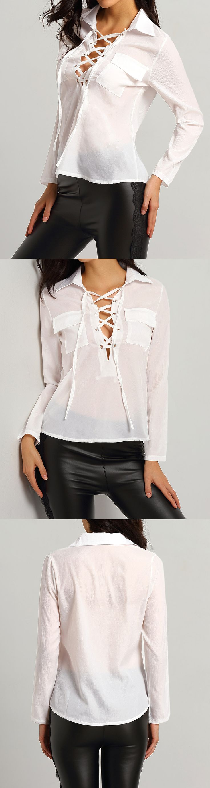 Really nice blouse in lace up for just $10.99. Great for work & trip outfit. Also enjoy 60% off 1st order. And free shipping on orders +US$50. Check for White Lapel Bandage Pockets Blouse.