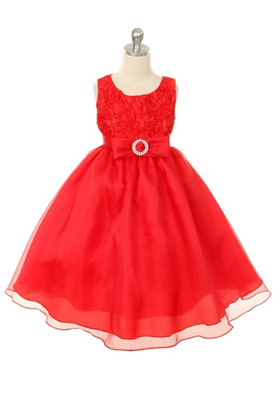 Red Rosette Tape with Organza Skirting and Rhinestoned Clasp Dress
