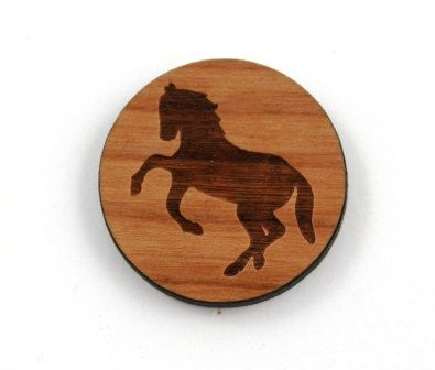 Laser Cut Supplies-1 Piece.Wild Horse Charms - Cherry Wood Laser Cut Horse -Brooch Supplies- Little Laser Lab Sustainable Wood Products