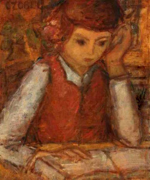 Olvasó lány (Reading Girl) - Czobel Bela 1883-1976 Post-impressionism