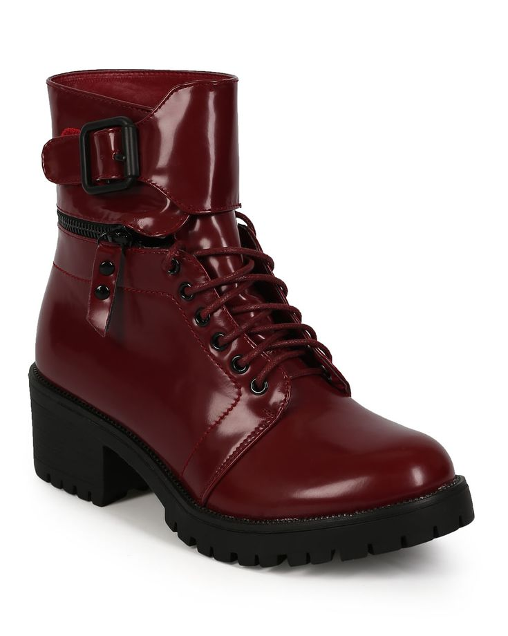 New-Women-Nature-Breeze-Law-Enforcer-02-Leatherette-Cuff-Chunky-Heel-Combat-Boot