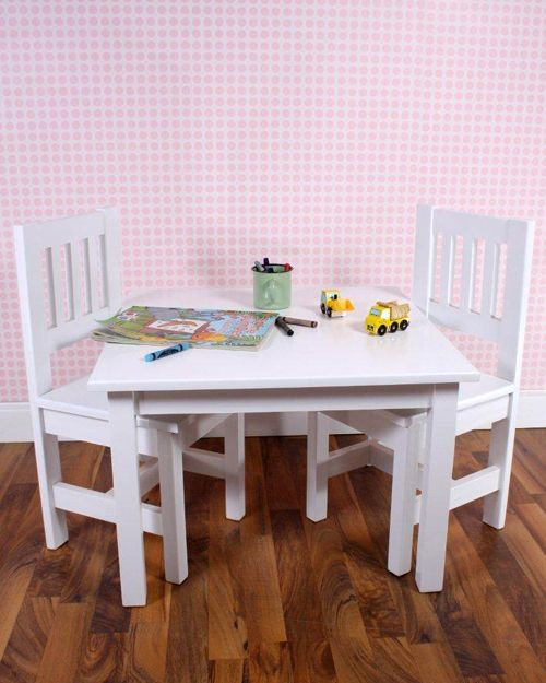 Toddler Table  Made from clear A-Grade pine, each piece has been expertly crafted and features fine groove detailing with elegant trims. This range is finished in a fresh shade of Soft White.
