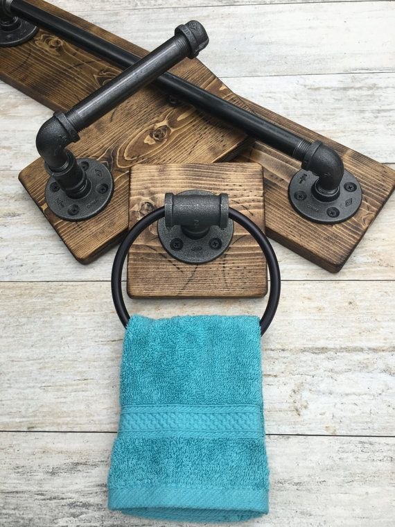 Industrial, rustic bathroom set of 3 DESCRIPTIONS: This industrial rustic bathroom set include bath towel holder, toilet paper holder and a hand towel ring. Industrial, rustic beautiful set of 3. It will make your bathroom outstanding and one of a kind. The wood is custom hand distressed. No two pieces are alike. Its made out of pipes. Clean and protected for long lasting use. Easy to clean with damp clean cloth. Its a great piece to any house. New and modern or old with character. Do y...
