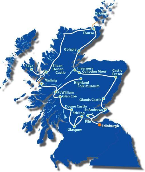Scotland inspired by Outlander See, Visit & Explore: Edinburgh, Edinburgh Castle, Falkland, Culross, St Andrews, Glamis Castle, Culloden Battlefield, Clava Cairns, Inverness, Orkney Islands, Skara Brae, Ullapool, Eilean Donan Castle, Isle of Skye, Glenfinnan, Highland Folk Museum, Glen Coe, Doune Castle, Glasgow and Stirling Castle.