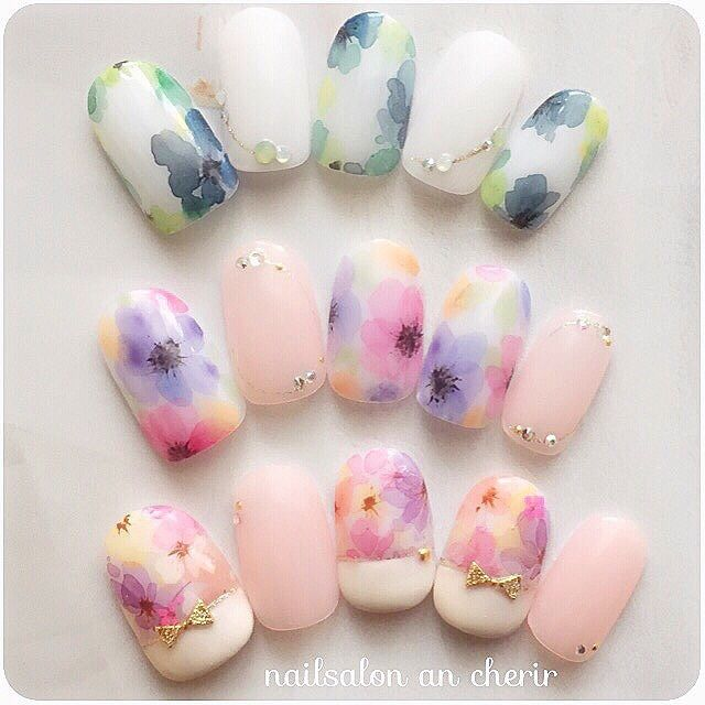 ancherir's summer, gel nails, Flower, Medium, French, pink, spring, office, date, colorful, hand, white, sample chip, Tarashikomi, one color nail ♪ [1490490] | Nail book