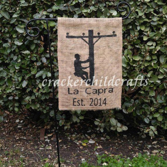 Personalized lineman garden flag by CrackerChild on Etsy