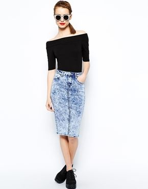 New Look Denim Acid Tube Skirt