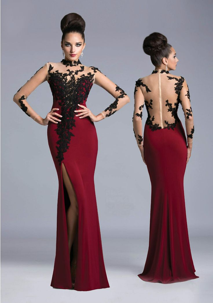 Y Long Dress With Sheer Sleeves And Back Black Lace Embroidery Trails Towards