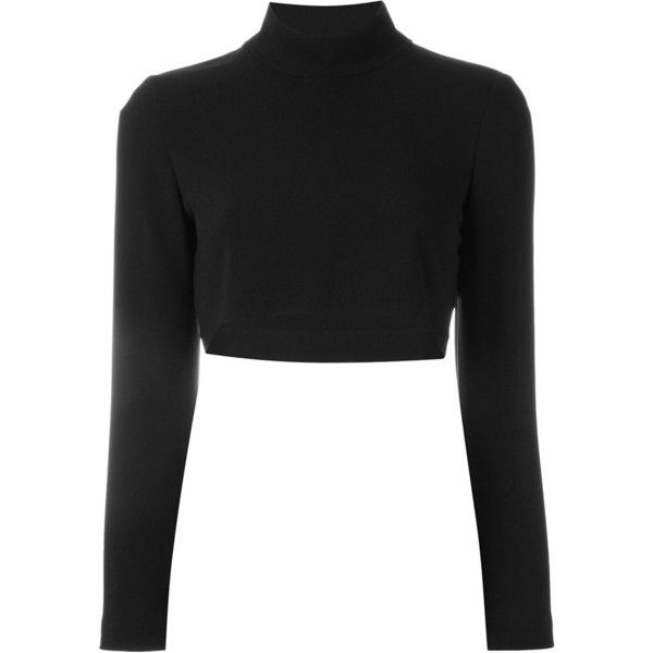 Martine Jarlgaard Cropped Polo Neck Jumper (3 695 ZAR) ❤ liked on Polyvore featuring tops, sweaters, black, turtleneck top, polo neck sweater, jumpers sweaters, cropped sweater and jumper top