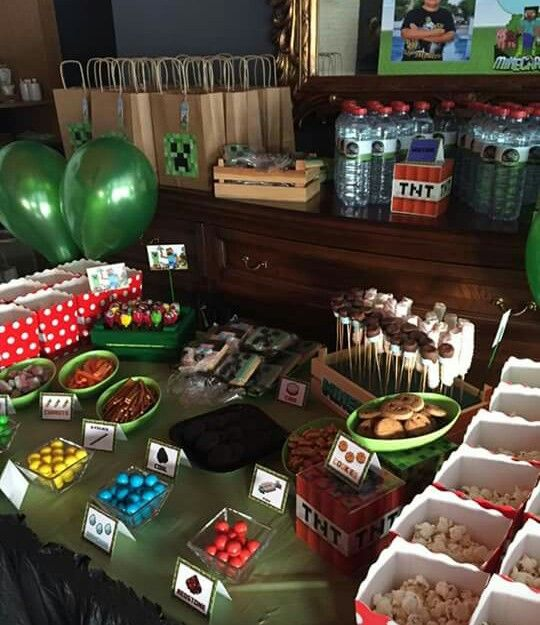 minacraft doğum günü partisinin şeker büfesi