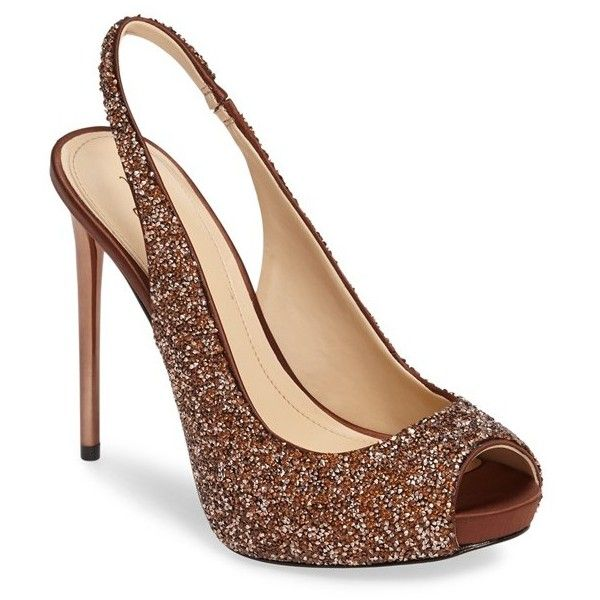 Women's Imagine Vince Camuto 'Pavi' Slingback Peep Toe Pump ($160) ❤ liked on Polyvore featuring shoes, pumps, bronze satin, slingback pumps, sling back shoes, peep toe shoes, peep toe slingback and peep toe pumps