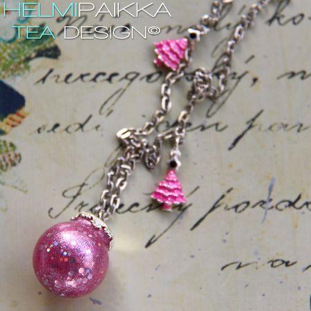 Pinkki glitter joulupallo