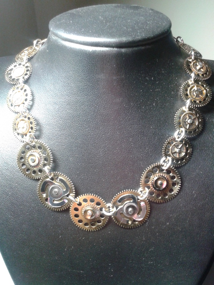 Necklace made from clockwork parts. All hand riveted with sterling silver.