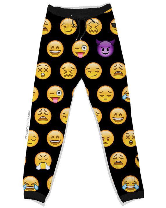 Black Emoji Joggers Jogging Pants Sweatpants by its7twentyfour