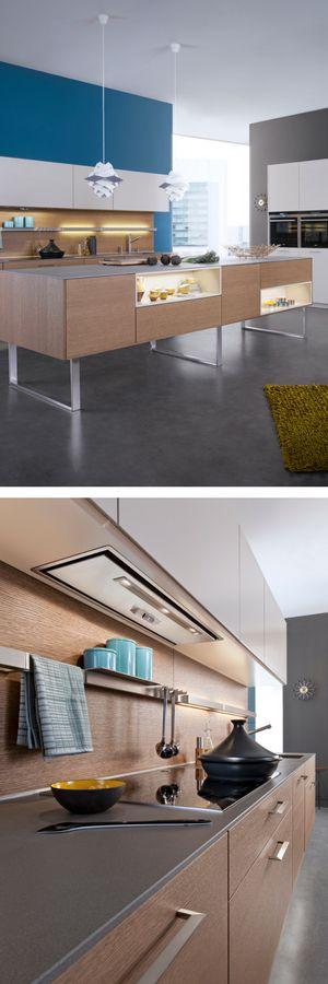 Fabulous Schlichte Holz K che mit Kochinsel in modernem Design