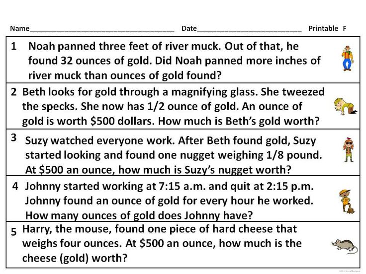 gold rush word problem measurement activities