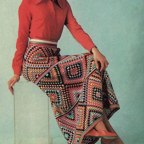 Boho Granny Square Chic Maxi Skirt: vintage pattern for sale
