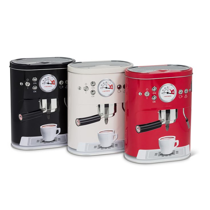 Keep your coffee pods close at hand in a hinged storage tin with an espresso machine design | Available in Black and Red at Twisted Goods!