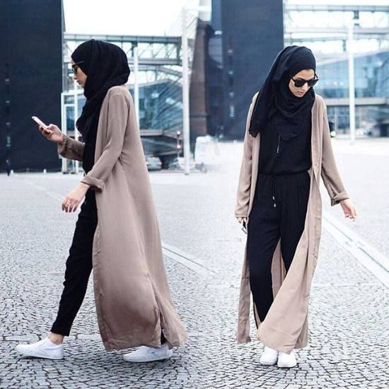 long neutral beige cardigan, Modest street hijab fashion- spring hijab…