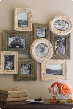 Rustic picture frames arranged together (and on top!) of each other.  I've never seen this sort of frame-stacking, and I love it.