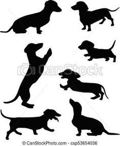 Dachshund Silhouette Clip Art Pack Download Dog Vectors Dog