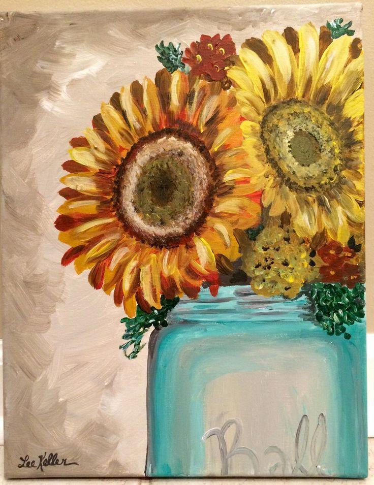 Sunflower print for sunflower on canvas painting by Lee Haigler Keller Etsy shop https://www.etsy.com/listing/225875982/sunflower-in-mason-jar-print-from
