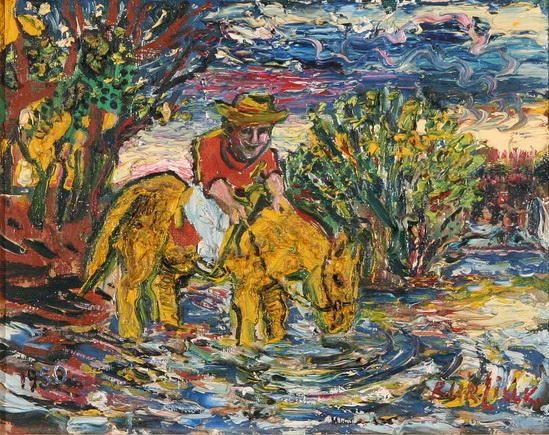 'Man on a Yellow Horse', 1950 by David Burliuk (1882-1967, Ukraine)