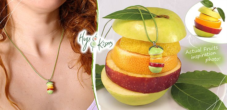 Fruit slices Necklace ~ https://www.etsy.com/listing/235451871/fruit-slices-necklace-fruit-charm-apple  ~ www.hugskissesmini.etcy.com
