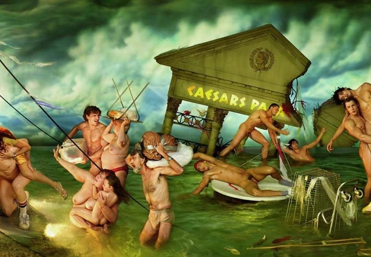 대홍수(Deluge)              단적인 예로 그의 대표작 대홍수(Deluge)가 있습니다.      시스티나 성당에 있는 미켈란젤로의 프레스코화 '대홍수'에서 영감을 얻은 라샤펠은    자신만의 홍수테마사진을 만들어내기 위해 거액의 돈을 아낌없이 투자했지요.         결과적으로 엄청난 사회적 파장을 몰고왔는데, 사진의 내용이 자본주의 시대가 홍수에 쓸려가는 내용이기 때문이죠.    그는 작품을 통해서 인간의 욕망과 중독에 대한 비판과 동시에 온정의 시각으로 세상을 바라보며     사람들이 좀 더 나은 세상을 만들어가길 염원한다고 합니다.
