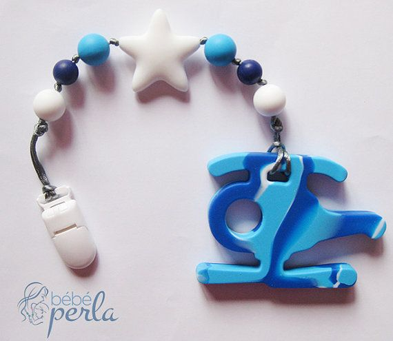 Bebe Perla™ Teething Pacifier toy Clip Helicopter by www.bebeperla.com