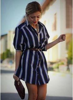 Gömlek Stil Şerit Elbise