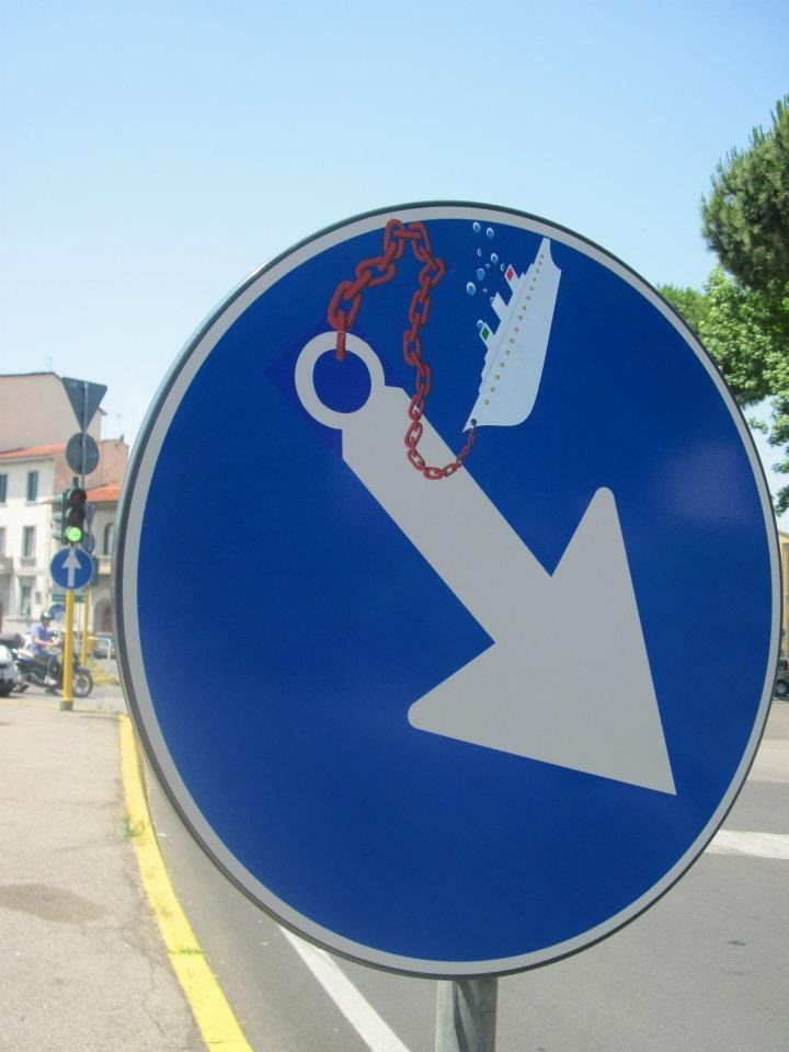 Street sign art pieces from Florence artist Clet Abraham.